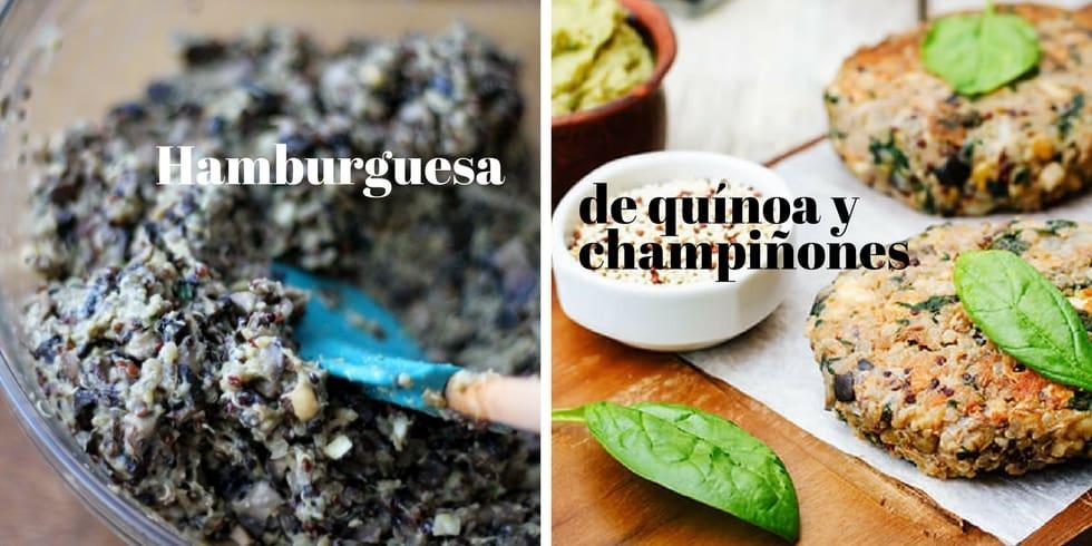 Hamburguesas de quinoa y champiñones