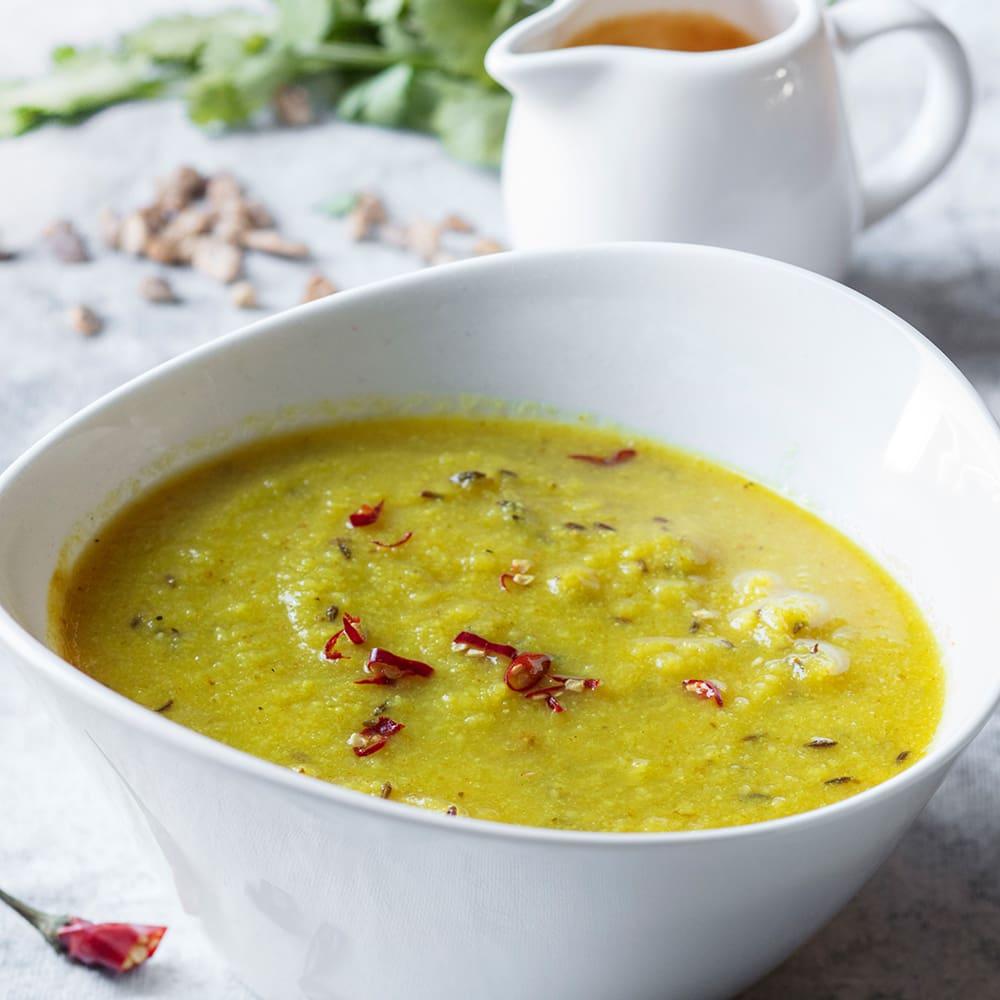 crema de coliflor y cebolla al curry