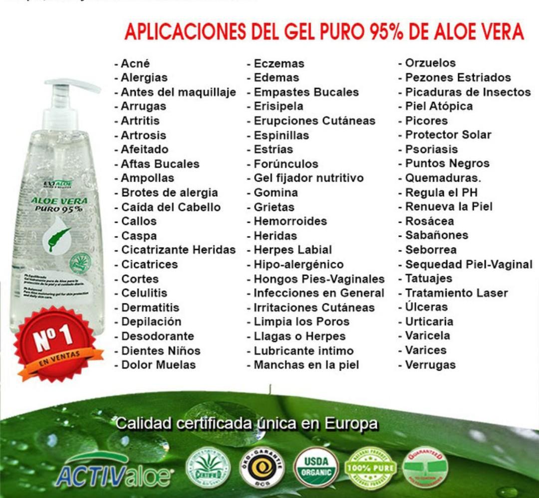 Usos del gel de Aloe Vera de la casa Exialoe