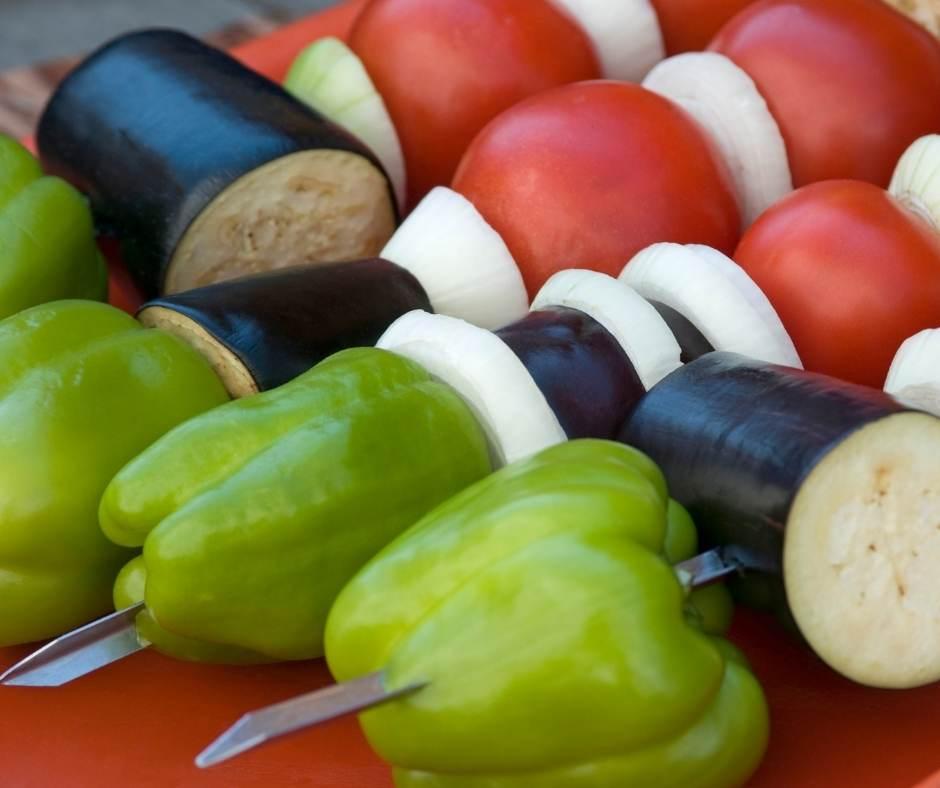 Verduras ideales y disfruta la barbacoa vegetariana